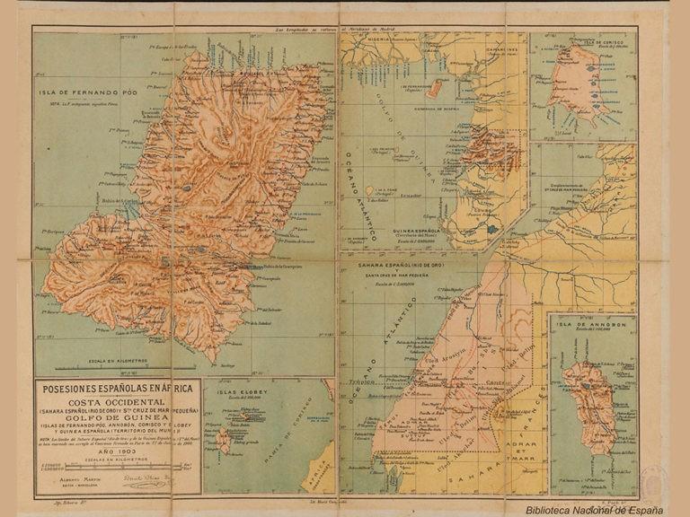 Mapa de las posesiones españolas en África 1903